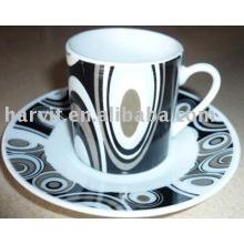 80CC taza de café decorativa de porcelana con platillo