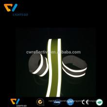 Argent haute lumière 3m fluorescent réfléchissant sangle de ceinture de cerclage élastique