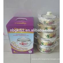 5pcs enamel cooking pot 673D with enamel lid