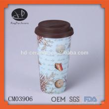 Caneca de café cerâmica com tampa de silicone, 15oz caneca de parede dupla inquebrável com decalque, copo de porcelana com tampa de silicone