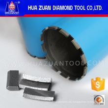Segmento de perforación con núcleo de diamante afilado