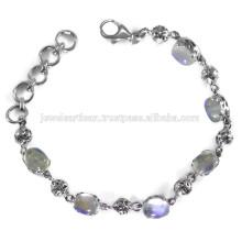 Piedra natural de la piedra preciosa del arco iris 925 pulsera de la plata esterlina Joyería