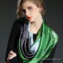 Lenço de seda quadrado grande e impresso artístico e impresso