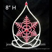 Copas de cristal rojo al por mayor del desfile de la Navidad del copo de nieve