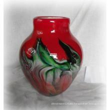 Jarrón de vidrio rojo con nube encantadora