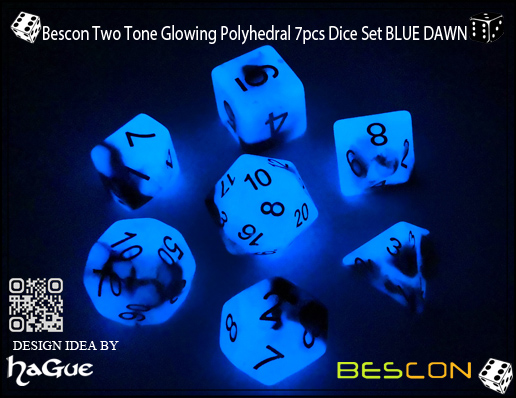 Bescon Two Tone Glowing Polyhedral 7pcs Dice Set BLUE DAWN-3