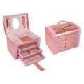 Pearly PU Leather Jewelry Organizer Case Box / Wedding Jewelry Box