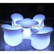 Mudança de cor automática LED Mesa e cadeira
