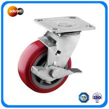 Heavy Duty Iron Core PU Swivel Caster Wheel with Brake