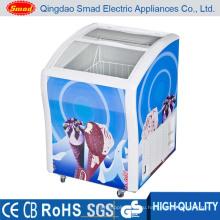 138L холодильник с мороженым, Дисплей морозильник, Изогнутое стекло двери морозильный ларь