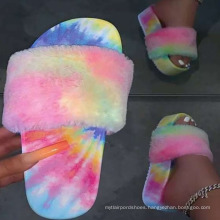 Hot sale thick sole women fur slippers Fur slides for women outdoor fur slippers