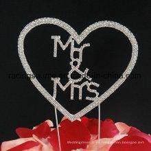 Sr. y señora Rhinestone Cake Topper Heart Wedding Cake Topper