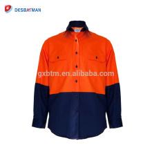 Nueva camisa de algodón para hombre Hi Vis Viz camiseta de polo de trabajo cerrado de seguridad con bolsillos