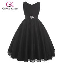 Grace Karin Sleeveless V-Neck Black Lace Baby Girl Dress Girl Party Wear Western Dress 2~12 Years CL008938-1