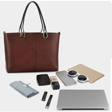 Luxury Fashion Plain PU Leather Women Tote Handbag