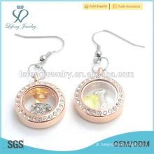 Novo design em aço inoxidável rosa ouro cristal flutuante brinco jóias