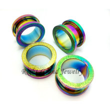 Newest 2014 Sandblasted PVD Rainbow Flesh Tunnel Plug Expander