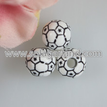 12MM Acrylic Round Football Beads Loose Soccer Ball Beads