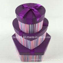 Ensemble de boîtes à cadeaux hexagonaux en forme de coeur en forme de coeur rond