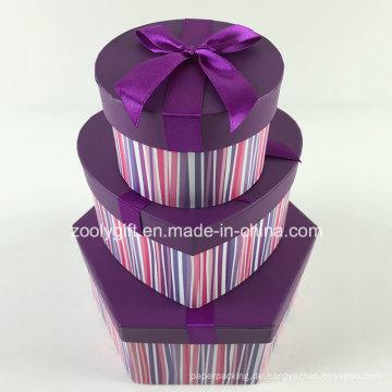 Sechseckige herzförmige runde gemischte Papier Geschenkboxen Set