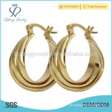 Design de fantasia de titânio de aço quente de design de brinco de placa de ouro de design