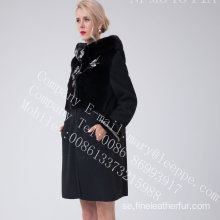 Australia Merino Shearling Coat With Mink Flower Women
