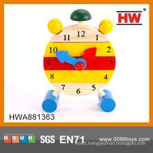 Top Popular Children DIY Alarm Clock Toys Kids Wooden Toy