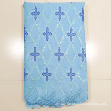 Blue Embroidery African Net Lace Fabrics With Sequins