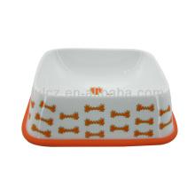 Werbeartikel rote Keramik Hundeschale mit Silikonständer