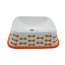 Promotional red ceramic dog bowl with silicone stand