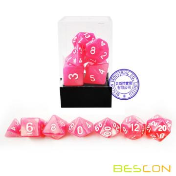 Bescon Moonstone Dice Set Peachy, Bescon Polyhedral RPG Dice Set Moonstone Effect