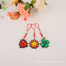 Fashion customized soft pvc sunflower shapes cell phone neck strap