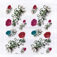 Diseño elegante Rose con espinas Patrón de flores Impermeable Etiqueta engomada del tatuaje 3D para el medio ambiente para mujeres