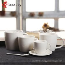 Высококачественная чисто белая дешевая керамическая кружка из китайского фарфора 16 унций