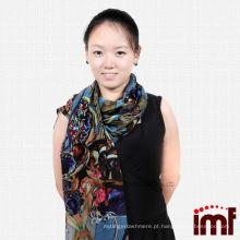 Hot Sale Unique Design Inner Mongolia cachecol de lã água solúvel - azul / vermelho