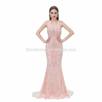 Senhoras sem mangas bordado rosa cor Maxi vestido de noite longo 2017