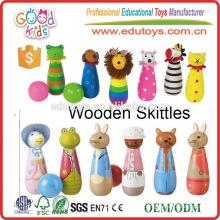 Lovely Hardwood Toy Vário Design Figuras de ação Wooden Bowling Toys for kids