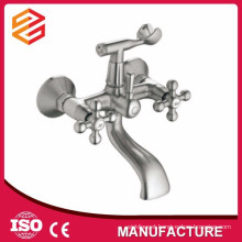 Polished Ceramic cartridge mixer hot cold water shower double handle wall-mounted shower mixer