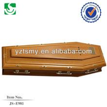 Material de carvalho com alças de metal para qualidade do caixão