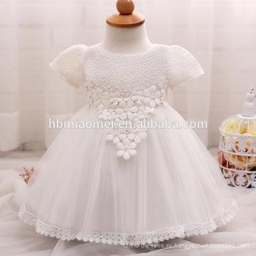 2017 новый летний девочка цветок девушка платье Западная одежда с коротким рукавом кружевной малыш девушка платье на день рождения