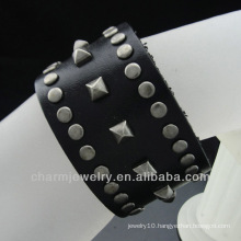 Black Leather Wide Strap Cuff Wrap Gothic Wristband Bracelet BGL-026