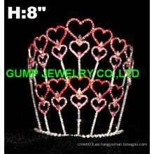 Corona de la tiara del día de san valentín, tiara del corazón