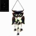 Metal Owl jardín Windbell con bola de cristal Eye Decoración al aire libre