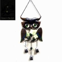 Metal Búho Windbell artesanía brilla en la oscura decoración colgante