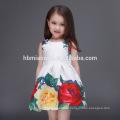 2017 hot vender sem mangas floral crianças menina vestido impresso algodão baby girl summer dress