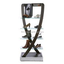 Marco de metal Elegante pie de pie de calzado Tiendas al por menor de vidrio Rack de zapato Display