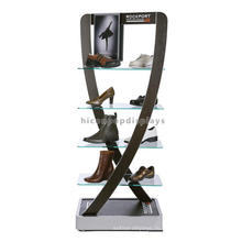 Металлический Каркас Стильный Напольная Обувных Магазинов Стеклянная Полка Для Обуви Дисплей