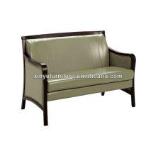 Shinny cuero sofá sofá de madera XY3379