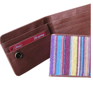 Women Woven Leather Wallet and Purse Badge Holder