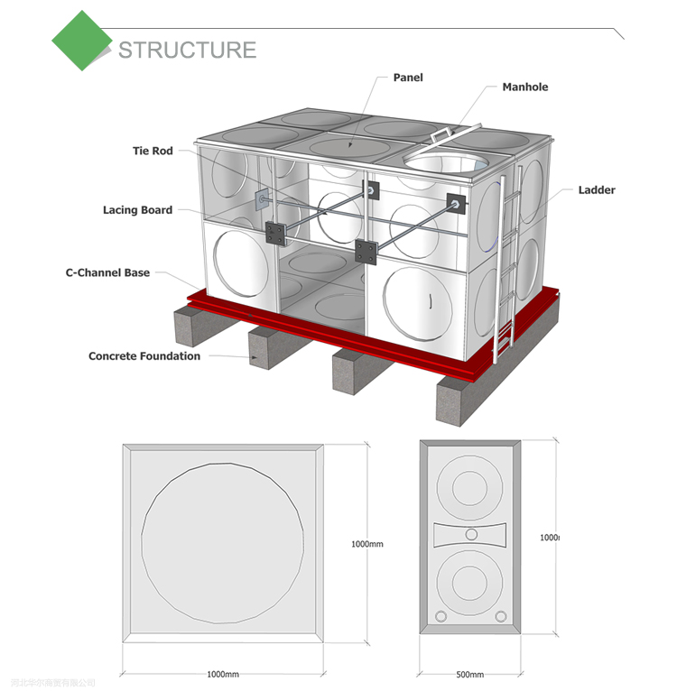 structure of stainless steel water tank